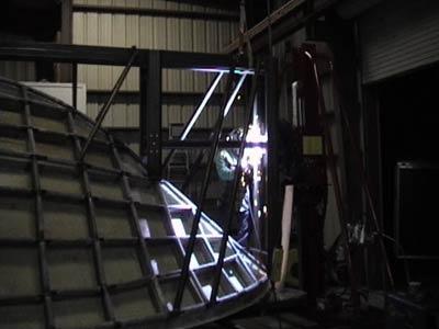 Split hull mold steel frame on an H.M.P.S. 9000